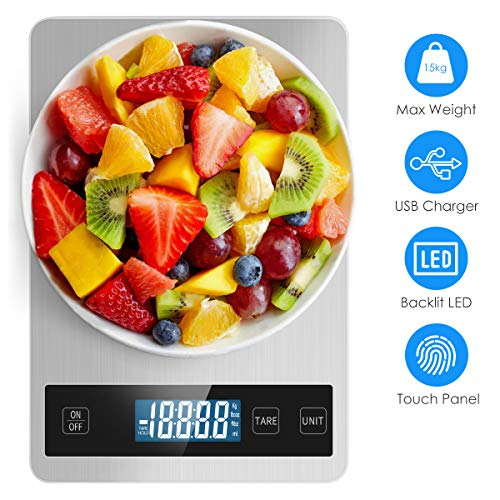SuperNicer 33lbs 15kg Rechargeable Kitchen Scale 5 Units LCD Display Tempered Glass Digital Scale 1g/01oz Precise Stainless Steel Food Scale for Cooking Baking