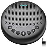 Bluetooth Speakerphone – eMeet Luna Updated AI Noise Reduction Algorithm Featured, Daisy Chain, USB Conference Speaker Phone w/Dongle for Home Office, 360° Voice Pickup for up to 8 People…