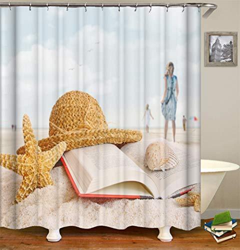 Blue Sky Beach Starfish hoed Tilt-Boek Shell Girl Bamboo Flamingo Mulino Een Vento Kleine gitaar Red Rose Dente Leeuw Cortina gordijn waterafstotend Mildewproof. Eenvoudig te reinigen 180 x 180 cm.
