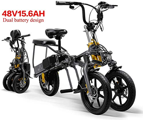 XINTONGDA 2 Batterien für Elektroauto 48V 15.6A Folding Dreirad Elektro-Dreirad 14 Zoll 1 Sekunde High Range elektrisches Fahrrad leicht