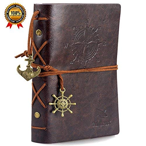 """Leather Writing Journal Notebook, 7"""" Unlined Classic Vintage Nautical Spiral Bound Notebook Refillable Diary Sketchbook Gifts Travel Journals to Write in for Girls and Boys - Gift Boxed"""