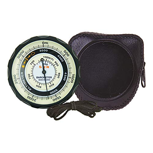 Sun Company Höhenmesser 202M - Batteriefreier Höhenmesser und Barometer | Wettertrendanzeige mit Weichledertasche | Liest die Höhe von 0 bis 5.000 Metern