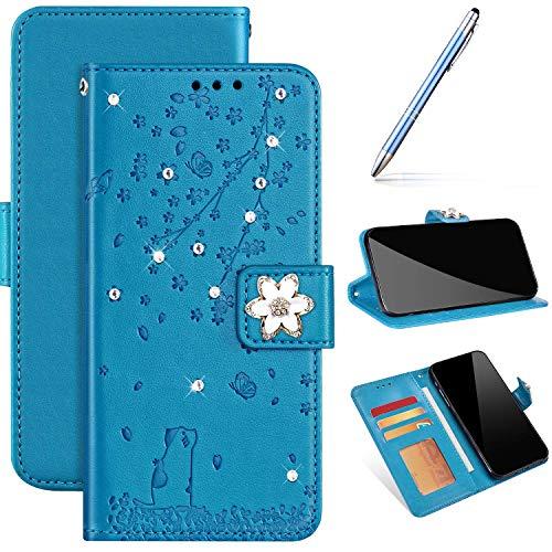 Hülle Kompatibel mit Samsung Huawei P40 Handyhülle Leder Flip Case,Kirsche Blumen Hülle Bling Glänzend Glitzer Strass Diamant Schutzhülle Bookstyle Klapphülle Handytasche Kartenfächer, Blau
