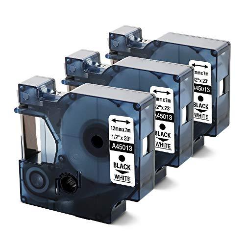 Unistar kompatibel Schriftband als Ersatz für Dymo D1 12mm x 7m 45013 S0720530 Schwarz auf Weiß Etikettenband für Dymo LabelManager 160 210D 260P 280 360D 420P 500TS PnP, 3er-Pack