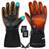INTIPAL Heated Gloves for Men Women, Rechargeable Touchscreen Heating Ski Gloves, Snowboarding Riding Hiking Winter Hand Warmer Gloves M