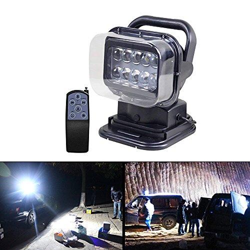 LITTOU LED Suchscheinwerfer Arbeitsleuchte Funkfernsteuerbar mit Magnetfuß Suchlicht - CREE Chip Wetterfest 360 Grad Drehbar für Auto Offroad Jagd Boot Garden 50 W DC 12V (set1)