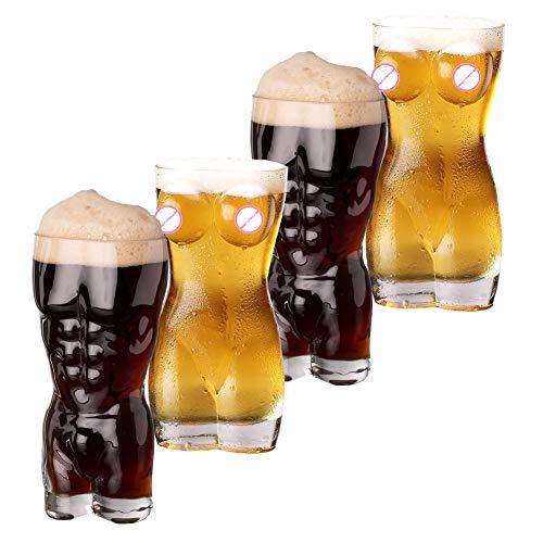 Conjunto de 4 Vasos de Cerveza Sexy, Taza de Cerveza de Trigo de Vidrio Transparente Taza de Bebida Bar Discoteca Copa de Vino,400ML