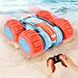 Amphibious Remote Control Car for Kids, Fixget 2.4GHz Waterproof Off Road Truck Toys, 4WD Electric Double Sides RC Stunt Boat Gifts for 5-12 Year Old Boys