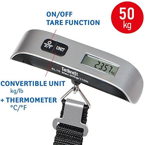 Tatkraft 20337 balanza digital para equipaje aprobada de 50 kg, maleta de viaje, termómetro de bolsillo, acero inoxidable, plástico, color negro