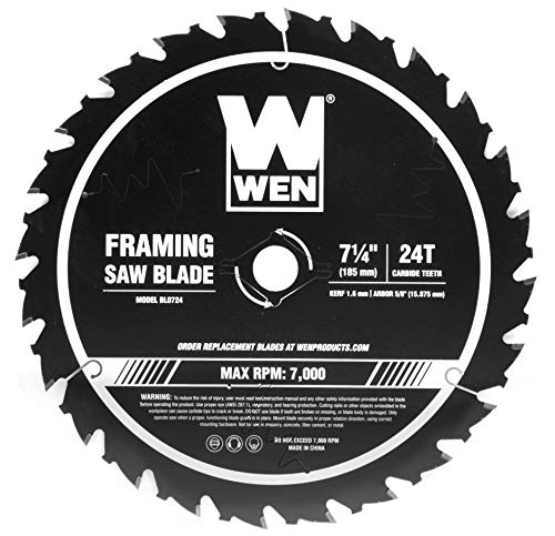 WEN BL0724 7.25-Inch 24-Tooth Carbide-Tipped Professional Framing Saw Blade for Miter Saws and Circular Saws