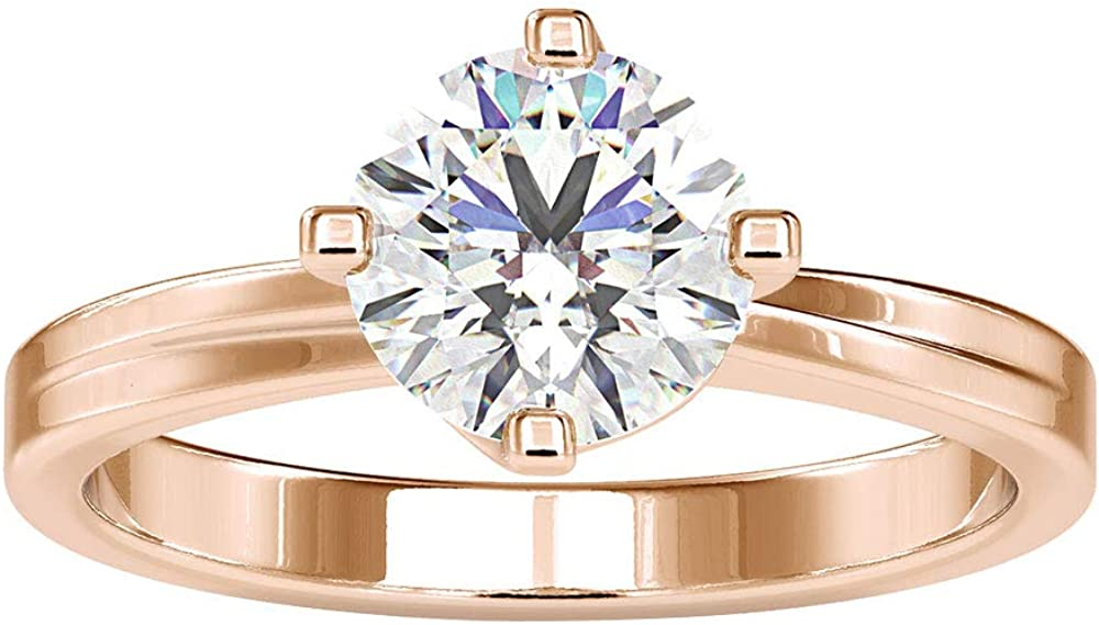 1.3 Ct Certified Solitaire Moissanite Wedding Ring, Classic Women Statement Ring, DE-VS1 Color Clarity Gemstone Gold Ring, Unique Bridal Promise Ring