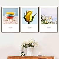 キャンバス絵画花イエローローズ小さなデイジーポプシクル家の装飾絵画シカダリビングルームの装飾ポスター壁アート-40x55cmx3個フレームなし