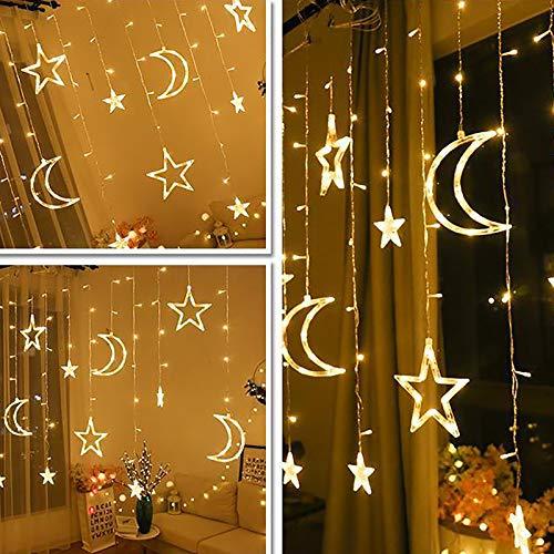 Cadena de luces LED con estrellas, decoración de casa, luz blanca cálida, cálida y romántica, para el hogar o el dormitorio, decoración de cortina, luz LED Star Moon Light (350 cm x 80 cm x 150 cm)