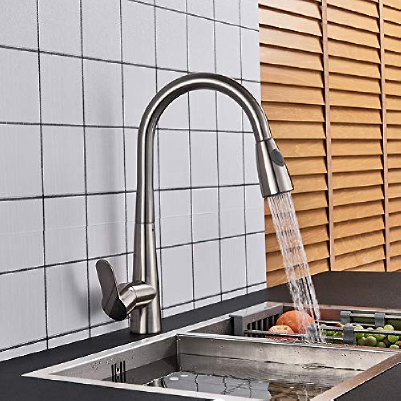 YHSGY Küchenarmatur Gebürsteter Nickel- Spülbecken-Hahn-Schwenker Ziehen Küchenhahn-Wannen-Hahn-Plattform-Angebrachte Badezimmerkran-Warmen Und Kalten Wassermischer Ab
