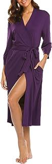 Bluetime Womens Robe Knit Bathrobe Sleepwear Loungewear Lightweight Kimono Robes Long (S-XXL)