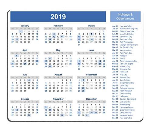 2019 kalender muismat Anti-Slip Gepersonaliseerde rechthoek Gaming Rubber muismat 9 X 7 Inch (220mmX180mmX3mm)