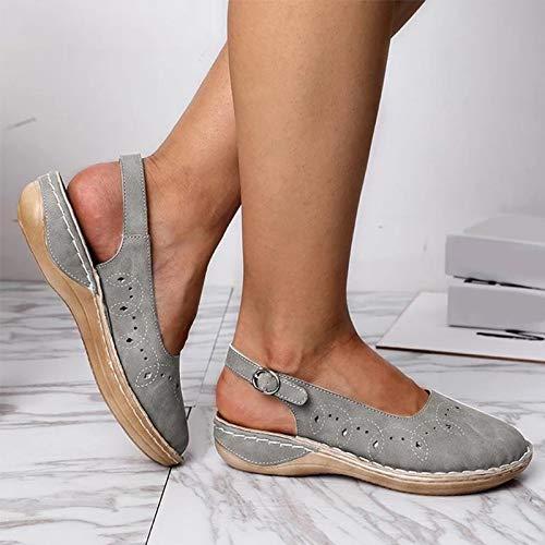 LXYYBFBD Sandalen Voor Vrouwen, Zomer Open teen Sandalen Gesp Platte Schoenen Dames Effen Naaien Hollow Out Platform Vrouwelijke Grijs Casual Comfortabele Vrouw Schoenen
