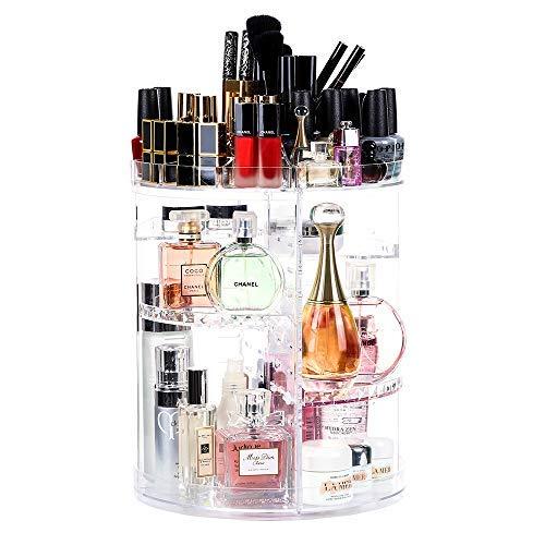 Organizador de maquillaje giratorio 360, Lilebox 360 grados ajustable cajón de maquillaje, se adapta a joyas, pinceles, barras de labios y cremas, 8 capas de almacenamiento de baño – transparente