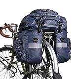 Rhinowalk 3 in 1 Bike Pannier Bag Multifunction Bicycle Rear Rack Carrier Trunk Bag Backpack Shouder Bag with Raincover
