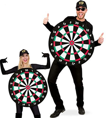 KarnevalsTeufel Kostüm Dartscheibe für Erwachsene | Einheitsgröße, Ø ca. 70cm | Bullseye, Dartboard, Pfeil, Karneval, Junggesellenabschied, Mottoparty