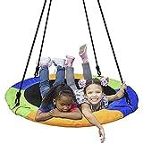 TASJS Silla Colgante de Columpio, Columpio para niños 900D Paño de Oxford Swing Redondo, Durabilidad de la Comodidad de Swing Ajustable de Ocio, para el jardín de Patio al Aire Libre Interior