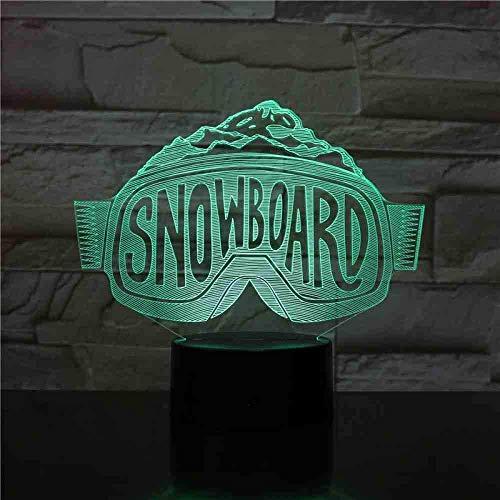 USB 3D LED nachtlampje Ski snowboard skiën decoratieve lichten jongens kind kinderen baby geschenken skibril tafellamp nachtkastje neon