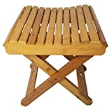 """Royal Brands Portable Bamboo Stool for Shaving Shower Set Foot Folding Stool for Picnic Fishing Waterproof and Easy Clean - (11.25""""x11""""x12"""")"""