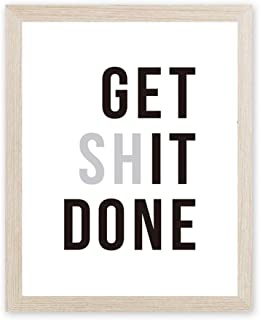 CHDITB Motivational Saying Art Print Get Shit Done Quote Painting, Set of 1 <8x10 inch>Canvas Funny Inspirational Quote Printing Poster for Living Room Bedroom Decor『Framed, Ready to Hang』