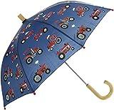 Hatley Printed Umbrella Paraguas, Blue (Red Farm Tractors), Talla única para...