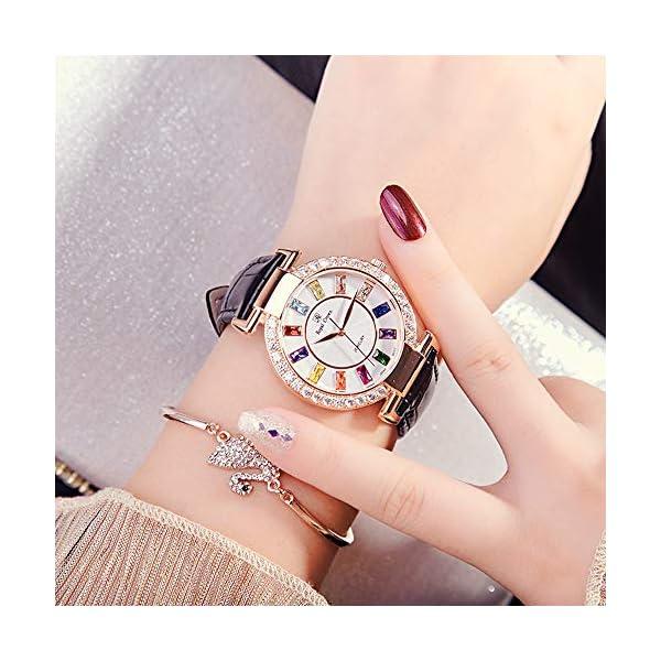 RC Royal Crown Women's Quartz Watch Fashion Leather Rose Gold-Tone Bangle Watch Jewelry Waterproof Wrist Watches
