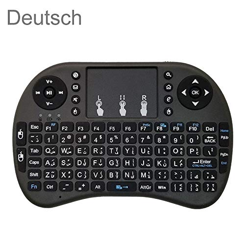LJ Mini drahtlose Tastatur Sprachunterstützung: Deutsch i8 Air Mouse Wireless Keyboard mit Touchpad for Android TV Box & Smart TV & PC Tablet & Xbox360 & PS3 & HTPC/IPTV, Mini drahtlose Tastatur