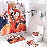LAOSHIZI Adler Papagei Drucken rutschfest Sanft Badteppich Kreativität 4er-Pack Badteppiche Set U-Form konturiert WC-Matte Teppiche Deckelabdeckung Wasserdicht Duschvorhang Flamingo