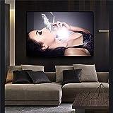N / A Cartel e impresión del Cuerpo de una Mujer fumadora sobre Lienzo. Salón nórdico Mural Pintura sin Marco 60cmX90cm