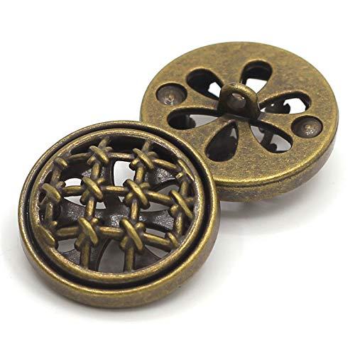 23 mm Retro Holle metalen schacht knoppen pak jas blazer knoppen decoratieve bevestigingsmiddel naaien accessoires Pack van 8, antieke messing 18mm