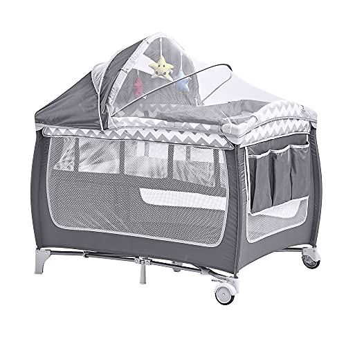 Sanery 2 in 1 Portable Baby Crib Bed Foldable Playpen Travel Cot for Infant Nursery Center Bedroom with Mattress Mosquito Net Changing Pad, White Grey