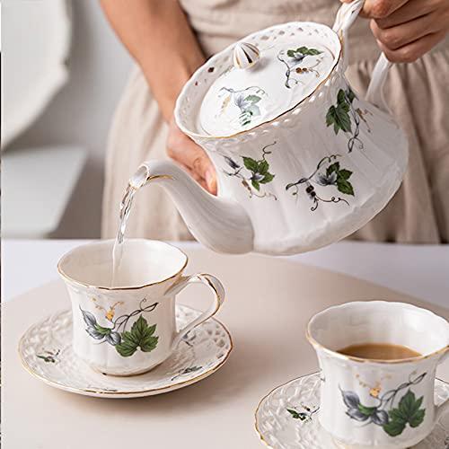 Juego De 3 Tazas De Té Y Platillos De Tetera En Porcelana China De Hueso, Tazas De Café De Cerámica Vintage En Taza Y Platillo De Café De Porcelana,A