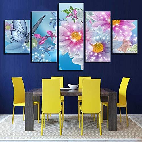 N / A 5 paneles decoración del hogar arte de la pared cuadros lienzo 5 paneles brillantes rosa flor mariposa moderna HD impreso cuadros carteles