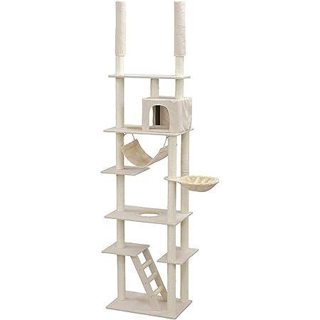 アイリスプラザ 猫用おもちゃ キャットタワー 突っ張り式 ハンモック おうち つめとぎ付き ベージュ 59.5x39.5x253センチメートル (x 1)
