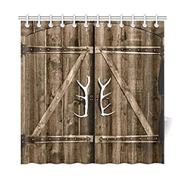 InterestPrint Wooden Garage Barn Door Shower Curtain, Vintage Rustic Country Wooden Gate with Antler Handles Decor Fabric Bathroom Set with Hooks, 72 X 72 Inches Long, Brown