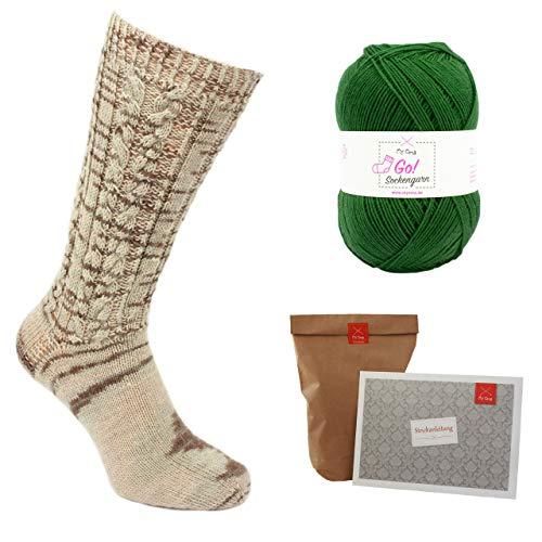 MyOma Socken Strickset *Oma Elfriedes Trachtenstrümpfe tannengrün* Socken Strickset INKL. Nadel - Strickset Socken 1x Sockengarn grün und Anleitung + GRATIS Label – Set Socken Stricken