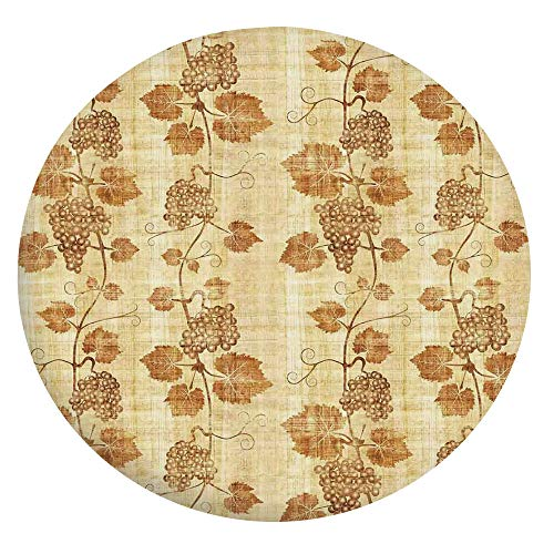Mantel ajustable de poliéster con bordes elásticos, figura de cocina sobre pergamino de papiro egipcio envejecido, se adapta a mesas redondas de 142 a 152 cm, para comedor y cocina, color crema