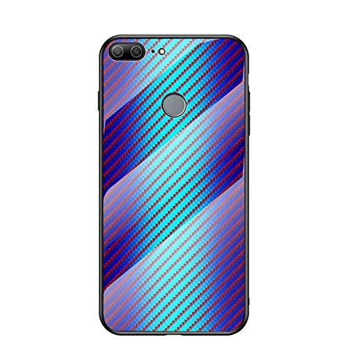 MadBee Coque pour Huawei Honor 9 Lite [avec Film de Protection écran],Coque avec Revêtement Arrière en Verre Trempé avec Modèle de Fibre + TPU Silicone Souple Anti Choc Case Cover (Bleu)