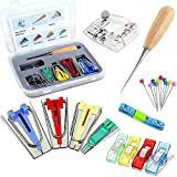 Single Double Fold Bias Tape Maker Tool Kit Set 6MM 12MM 18MM 25MM Fabric Bias Tape Maker Tools 4 Sizes DIY Sewing Bias Tape Makers for Quilt Binding(13 in 1)