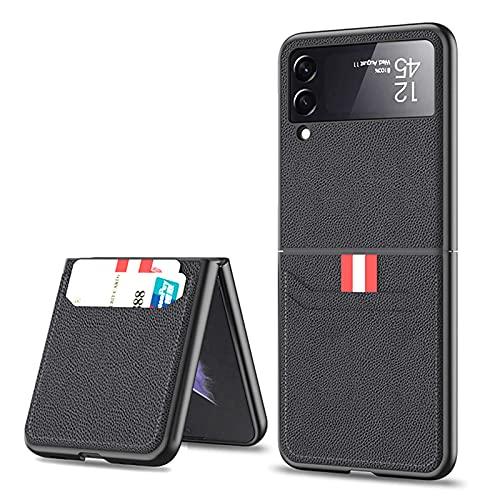 SHIEID Ledertasche für Samsung Galaxy Z Flip 3 5G, Z Flip 3 Hülle mit Kartenetui Lederbrieftasche Schutzhülle, Klappbildschirm Handyhülle für Samsung Z Flip 3 5G-Schwarz