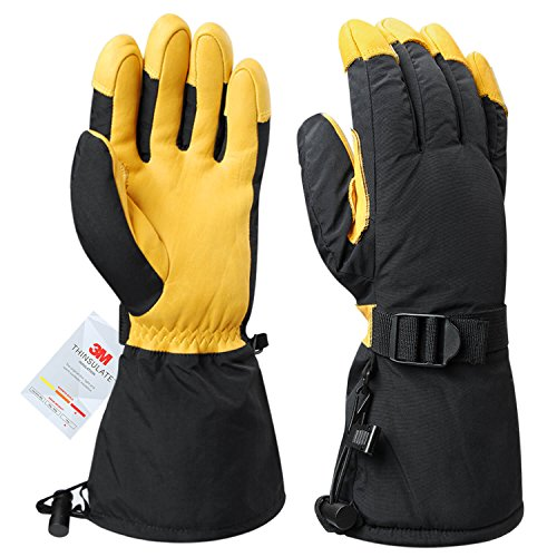 Winter Gloves Cold Proof Warm Snow Leather Work Glove 3M Thinsulate Insulation Thermal Cotton Thick Cowhide - Waterproof Windproof Insulated for Men and Women Yellow X-Large