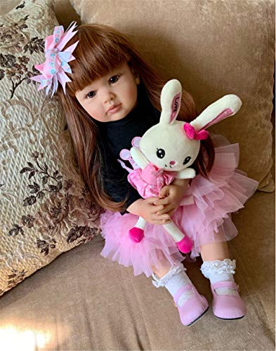 Anano Real Life Baby Girl Reborn Dolls 24 Inch 60cm Lovely Reborn Toddler Life Like Baby Doll Vinyl Silicone Cloth Body Weighted Long Hair Babies Toddler Dolls Reborn