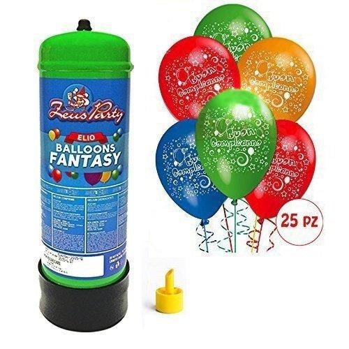 Offerta per Feste-BOMBOLA di Gas Elio da 2,2 Litri + 50 Palloncini A Scelta TEMI Vari (Buon Compleanno)