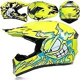 KAAM Juego de casco de motocross con gafas, guantes, máscara, cuatro estaciones, unisex, casco Downhill Enduro, ATV, MTB, BMX, quad, motocicleta, Offroad, para hombres y mujeres (amarillo, M)