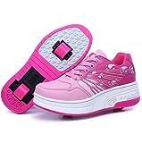 NNNN - Zapatillas de deporte para niños y niñas, con ruedas, monopatín, 2 ruedas, retráctil, técnica skateboard,Pink1-43