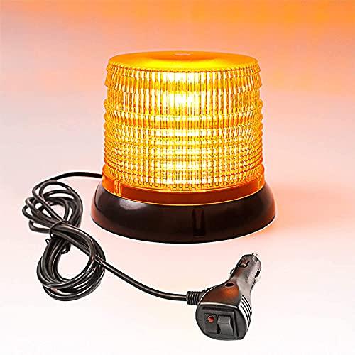 Gyrophare Magnetique Orange LED Voiture Clignotant Gyrophare Signal d'Avertissement Lumière d'Alarme Lumière. (72 Led)